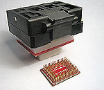 ZIF Closed top, lidded socket to pads for 128 lead QFP rectangular package with 16.0 x 22.0mm tip to tip.