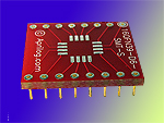 16 pad QFN MLF SMT to DIP breadboard adapter converts SMT package with pitch of 1.0 mm to two 600 mil DIP pin rows.