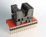 28 Pin QSOP programming adapter for  28 lead QSOP package. Generic adapter wired one-to-one.