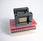 28 Pin ZIF socket adapter for devices in 5.7mm max wide body SSOP packages. Generic one to one wiring.