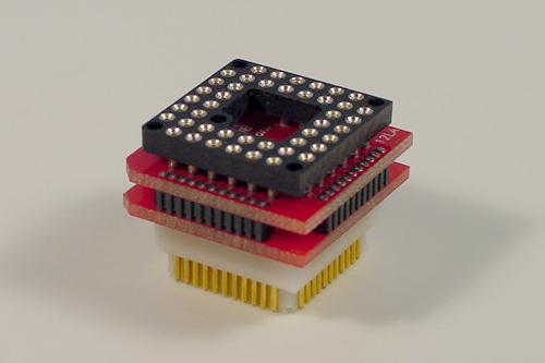 44 pin PGA to PLCC adapter. The top of the adapter has PGA socket. The bottom of the adapter has PLCC plug.