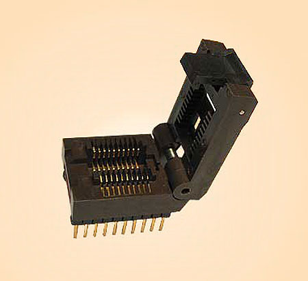 20 Pin programming adapter for 300 mil wide SOIC packages. Has an Enplus hinge lid SOIC ZIF test socket mounted on pin receptacles so it can be easily replaced. This adapter accepts 8 SOIC, 14 SOIC, 16 SOIC, 18 SOIC and 20 SOIC 300-mil wide components,and is wired one-to-one (generic), so it works on any programmer.
