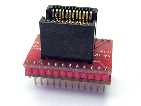 24 Pin SOJ, Live bug programming adapter for devices in 8.4mm (330 mil) wide body SOIC packages. Generic wiring means that it works on any programmer.