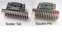 Solder tail and square wire wrap pins.